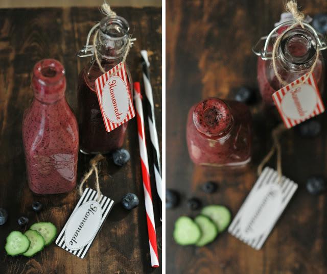 Koktajl z jagód, borówek, arbuza, ogórka i mleka kokosowego